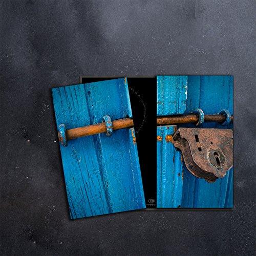 CTC-Trade | Herdabdeckplatten Set 2x30x52 cm Ceranfeld Abdeckung Glas Spritzschutz Abdeckplatte Glasplatte Herd Ceranfeldabdeckung Blau Vorhängeschloss