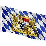 FLAGMASTER Bandiera Flag 120x80 cm, 24 Bandiere Diverse tra Cui Scegliere, Occhielli Metallici per Il Fissaggio, Bandiera Baviera