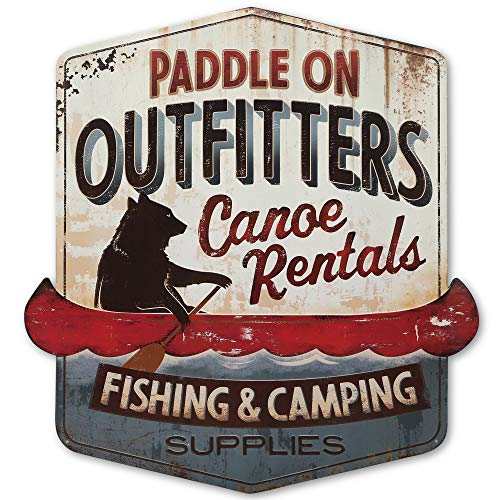 Open Road Brands Paddle On Outfitters Canoe Rentals Embossed Metal Sign - Large 26 Inch x 28 Inch Fishing and Camping Wall Art for Cabin, Lake House or Lodge