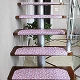 Accesorios de casa 15 Piezas Conjunto de Escalera Pads Paso resbalón no Adhesiva Rug/Mat for Huella de peldaño Pink_65x24cm (Color : Pink)