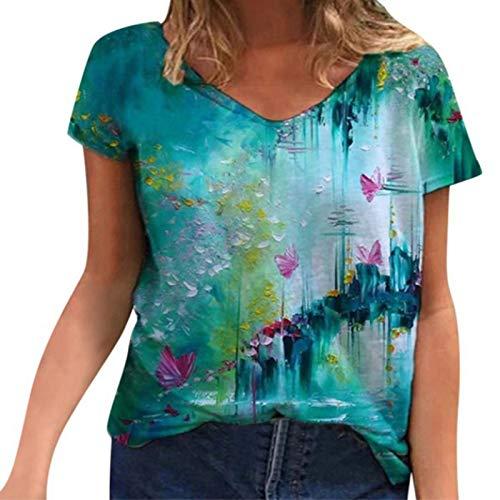 SLYZ Camiseta Estampada De Moda con Cuello En V Retro Casual Suelta De Talla Grande De Verano para Mujer para Mujer