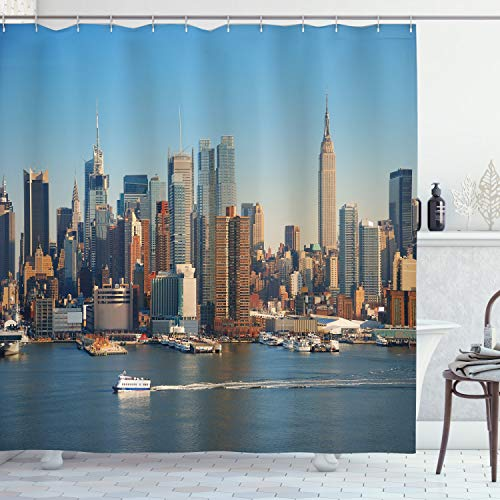 """Ambesonne Urban Shower Curtain, New York City Skyline Over River Empire State Building Boats and Skyscrapers, Cloth Fabric Bathroom Decor Set with Hooks, 70"""" Long, Brown Blue"""