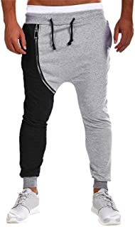 Mens Harem Pants Joggers Autumn Winter Cotton Zipper Hip Hop Trousers