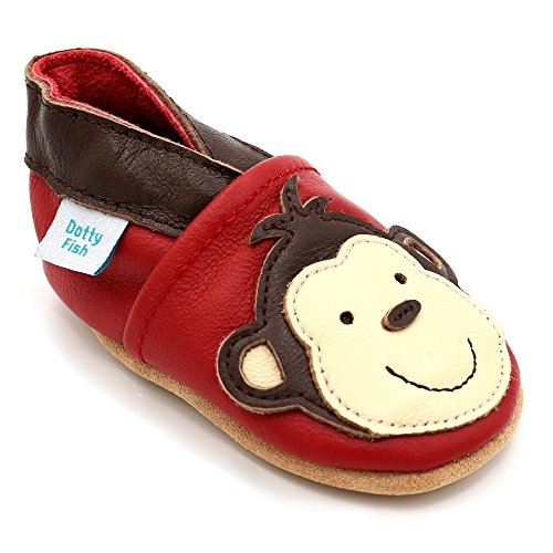 Dotty Fish Zapatos de Cuero Suave para bebés. Antideslizante. Rojo con Mono marrón. 12-18 Meses (21 EU)