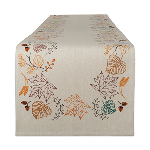 DII Fall & Holiday Thanksgiving Tabletop Collection, Table Runner, Autumn Leaves