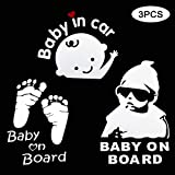 TOMALL 3Pcs Baby on Board Car Sticker Baby in Car Waterproof Reflective Car Sticker Baby safety Sign Car Sticker Baby Footprint Car Decal Stickers for Car Rear windshield and Bumpers White