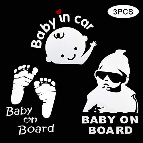 TOMALL Pegatina para coche Baby on Board 3 unidades impermeable reflectante para coche señal de seguridad de bebé pegatina para coche con huella de bebé...