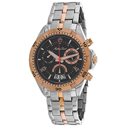 MATTHEY-TISSOT Correa de acero inoxidable de cuarzo para hombre, multicolor, 20 reloj casual (Modelo: H5002CHRN)