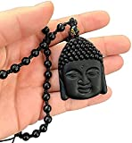 ASDF Shakyamuni Buddha Statue Kopf Natürliches Amulett/Talisman, Schwarzer Obsidian Geschnitzter Buddha Kopf Anhänger mit Bead Lucky Amulett Halskette für Männer Frauen