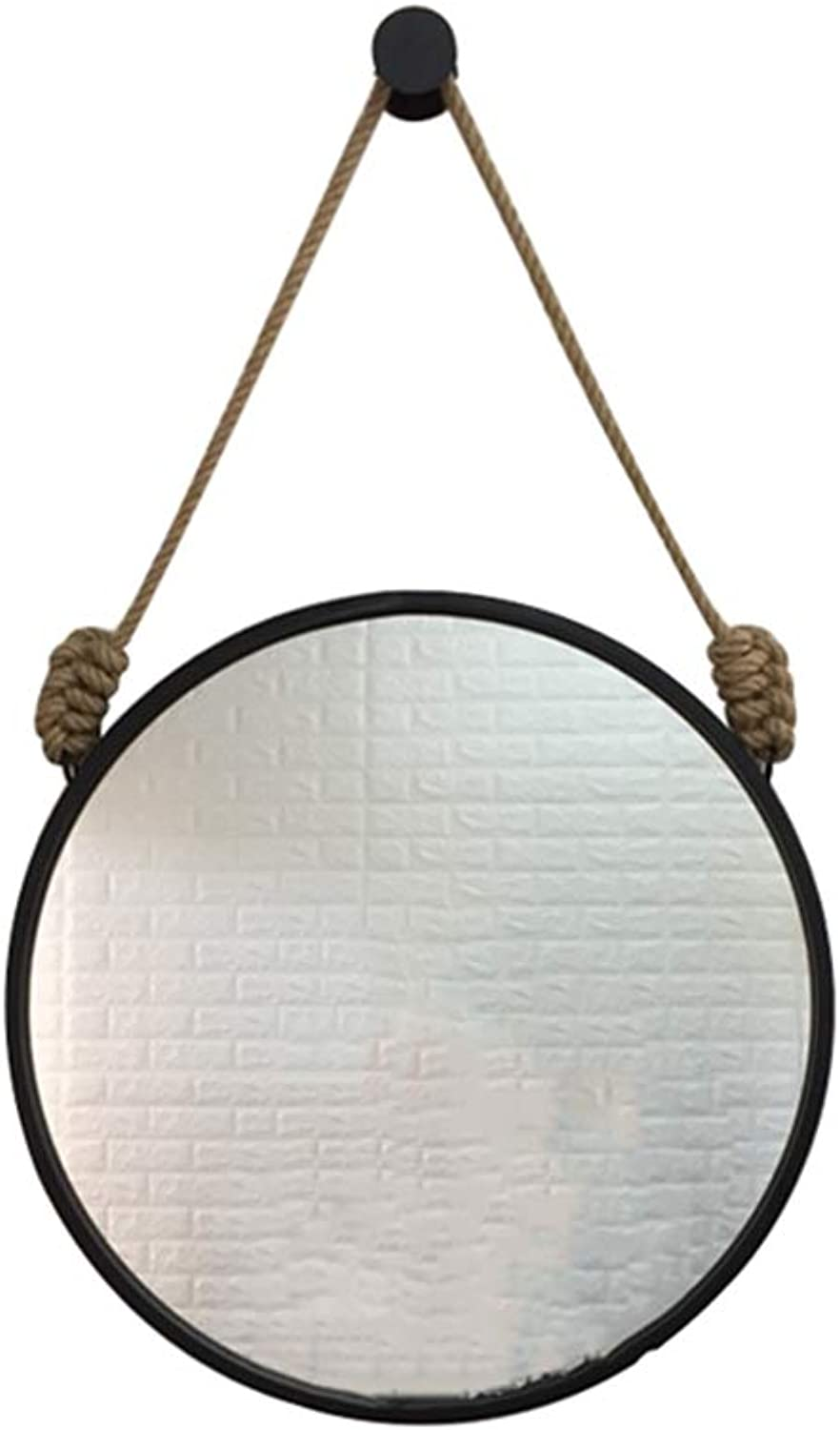Wall-Mounted Mirror Round Diameter 30 40 50 60 70cm Metal Frame Hemp Hanging Mirror Bathroom Toilet Living Room Bedroom Nordic Fashion Decoration Black