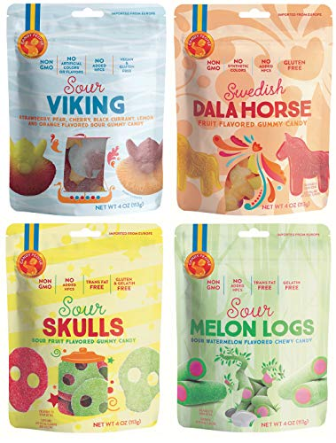 Candy People Swedish Gummy Candy – Non-GMO, Fat-Free Gummies – Sour Viking, Swedish Dala Horse, Sour Skulls, and Sour Melon Logs Pack of 4