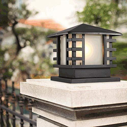 Columna de Paisaje Impermeable de Varios tamaños IP44 Luz de Aluminio Negro Villa de fundición a presión Poste de Pilar Linterna Luz Cuadrada Puerta de la casa Farola Rural Entrada de la Piscina Jard