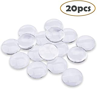 Efivs Arts 20 pcs Transparent Glass cabochons, Clear Glass Dome Tile Cabochon Half Round Flat Clear 1.57 inch (40mm) Non-calibrated Round for Photo Pendant Craft Jewelry Making DIY Ideas