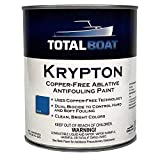 TotalBoat Krypton Copper Free Antifouling – Marine Ablative Boat Bottom Paint | for Fiberglass, Wood, Aluminum & Steel Boats | Ideal for Outdrives & Trim Tabs (Blue, Gallon)