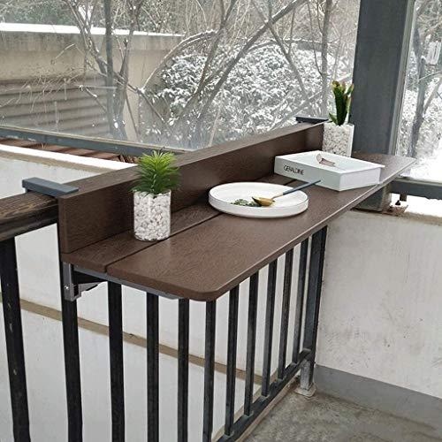 WENLI Mesas de Café Ajustable Brown Balcón Colgando Barandilla Tabla Flotante estantes...