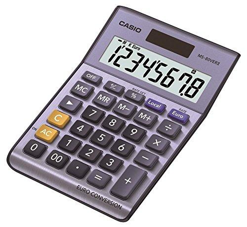 CASIO Tischrechner MS-80VERII, 8-stellig, Währungsumrechnung, Aluminiumfront, Schnellkorrekturtaste, Solar-/Batteriebetrieb