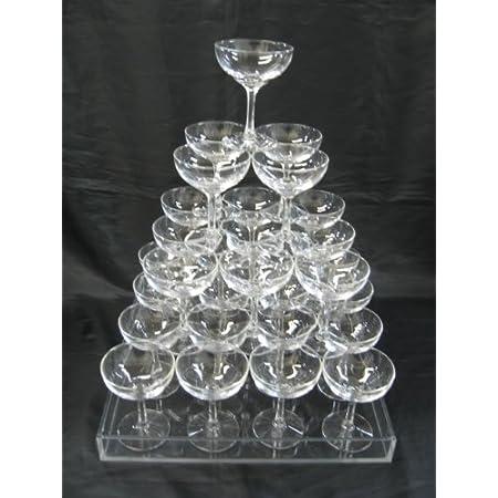 シャンパンタワー4段用セット グラス30個 トレー付