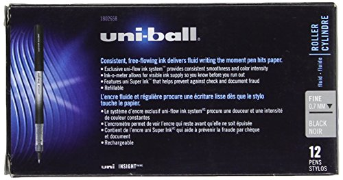 Uni-Ball Insight Stick Rollerball Pens, Fine Point, Black Ink, Pack of 12 Photo #6
