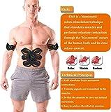 Electroestimulador Muscular, Abdominales Cinturón, Estimulador Muscular Abdominales, Masajeador Eléctrico Cinturón con USB, EMS Ejercitador del Abdomen/Brazo/Piernas/Cintura (Hombre/Mujer) (Negro)