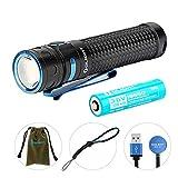 OLIGHT Baton Pro LED Taschenlampe 2000 Lumen, USB wiederaufladbare Taschenlampen, Reichweite bis zu 132 Meters, 5 Beleuchtungsmod für Campen, Wandern, Fahrradfahren usw