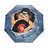 AOTISO Música Auriculares Disco de Vinilo Gato A Prueba de Viento Paraguas de Viaje Cierre automático 3 Paraguas de Lluvia Plegable Protección UV portátil