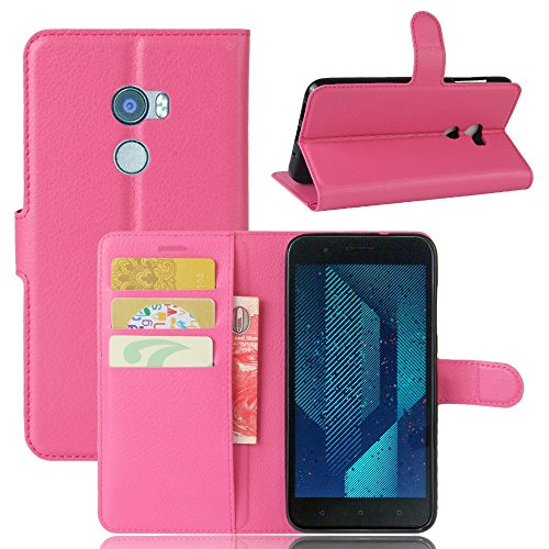 pinlu® PU Leder Hülle Schutzhülle Für HTC One X10 Prämie Geschäfts Art Haut Textur Flip Etui Brieftasche Mit Stand Function Innenschlitzen Design Cover Rose red