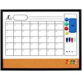 Whiteboard Calendar 24 x 18' with Wooden (Real Wood) Frame - Magnetic Monthly Planner Dry Erase/Cork Board + 1 Eraser, 4 Dry Wipe Markers, 4 Magnets and 10 Pins - Small White Bulletin Chore Board