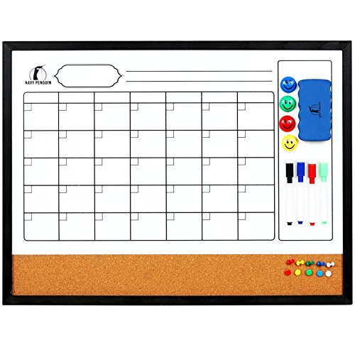 """Whiteboard Calendar 24 x 18"""" with Wooden (Real Wood) Frame - Magnetic Monthly Planner Dry Erase/Cork Board + 1 Eraser, 4 Dry Wipe Markers, 4 Magnets and 10 Pins - Small White Bulletin Chore Board"""