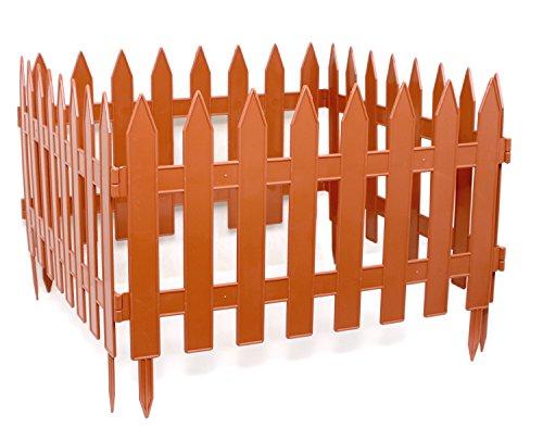 Clôture décorative de jardin - Longueur : 3,20 m - Hauteur : 27 cm - Couleur terre cuite