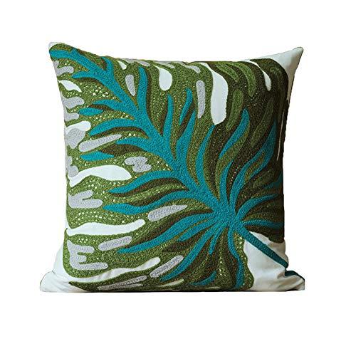 Kissenbezug mit Bananenblättern, bestickt, Heimdekoration, Baumwolle, für Couch, Sofa, Bett, 45,7 x 45,7 cm