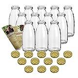 guoveo - 12 botellas de zumo de 250 ml con tapón de rosca dorado, botellas de vidrio vacías
