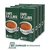 Café La Llave Espresso Capsules, Intensity 11 (80 Pods) Compatible with Nespresso OriginalLine...