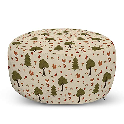Ambesonne Woodsy Pouf Cover with Zipper, Furry Woodland Wild Animals in The Nature Squirrels Fox Birds, Soft Decorative Fabric Unstuffed Case, 30' W X 17.3' L, Beige Fawn