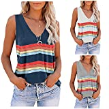 Jaqqra Tank Tops for Women Tie Dye Sleeveless V Neck Summer Tops Stripe Loose Workout Athletic Yoga Shirts Blouse Tops