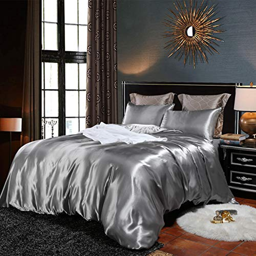 Bonhause Sets de Housse de Couette 220 x 240 cm + 2 Taies d'oreiller 65 x 65cm Soie comme Le Satin Gris Parure de Lit 2 Personnes
