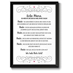 Danke Mama Bild im schwarzem Holz-Rahmen Geschenke Geschenkideen Muttertag Muttertagsgeschenk Mama Mutter