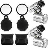 2 Set Taschen Mikroskop Lupe Mini Handlupe mit 2 LED Taschenlupen Set für Schmuck, Münzen, Briefmarken, Antiquitäten und Mehr