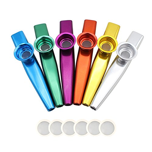Nouvelife–Juego de 6 mirlitones de aleación de aluminio, longitud de 12cm con membrana, para acompañamiento de guitarra o de armónica