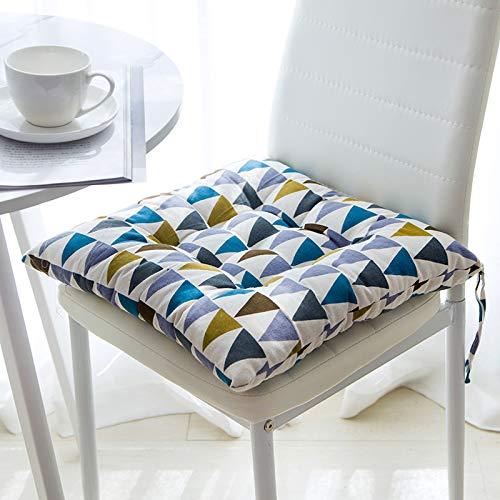 Juego de 4 cojines de silla de algodón de lino de cuatro estaciones con lazos cojines de asiento de color marrón para silla de comedor 100% poliéster cojines de silla con correas (40 x 40 cm)