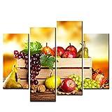 NOBRAND Cartel Impreso Pared Decorativa 4 Piezas/Set Fruta Lienzo Pintura Aceite HD Arte Imágenes modulares para niños Vivos Habitación-20x40_20x60cmx2_No_Frame