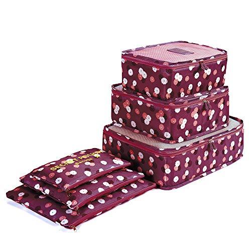 6 Set de Organizador de Equipaje, Impermeable Organizador de Maleta Bolsa para Ropa Sucia de Viaje, Material Nylon(Wine Flower)