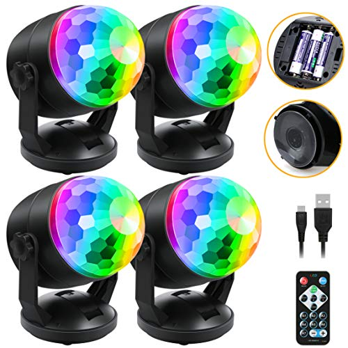 [4-Pack] Sound Activated Party Lights with Remote Control, Battery Powered/USB Portable RBG Disco Ball Light, Dj Lighting, Strobe Lamp 7 Modes Stage Party Supplies for Home Room Dance Parties Karaoke