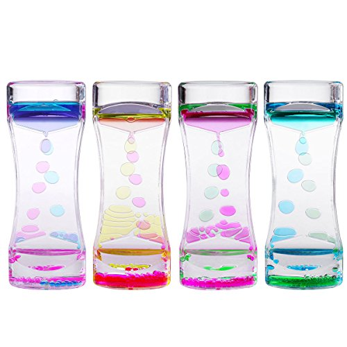 BESTOMZ 4pcs Doble Reloj de arena Liquid - Líquido Movimiento Bubble Timer con Pretty