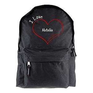 Mochila modern I Love Natalia negro