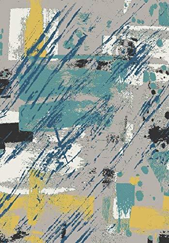 Tappeto Camera Soggiorno Salotto Camera Moderno rug Arte Astratta Pittura Grigio Blu Senape Giallo Pelo Corto Lavabile Tappeti Morbido Tappetino Home Decor Carpet 160×200CM
