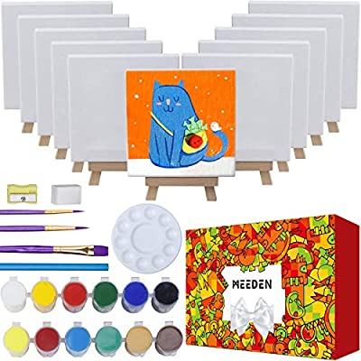 MEEDEN 43-Piece Acrylic Painting Set, 12Mini Beech Wood Easels and 12Stretched Canvas, 12×16ML Acrylic Paint Set, 3Paintbrushes and All The Additional Supplies, Elegant Gift Box for Kids and Beginners