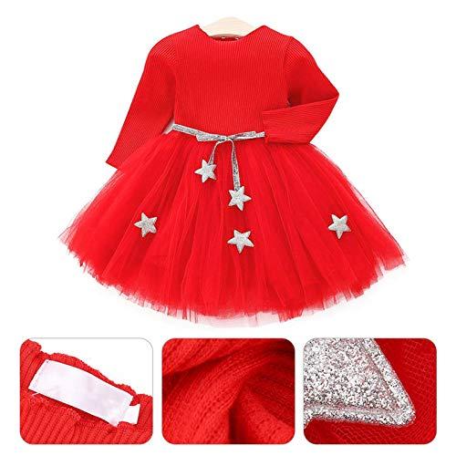 Vestido de tutú de punto con mangas largas para bebés Vestido de tul con princesa infantil y falda con mezcla de algodón con cintura de estrellas para niños(80-rojo)