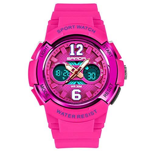 SANDA Relojes Mujer,Mesa de protección Ambiental con Reloj electrónico a Prueba de Agua Reloj electrónico para niños LED Mesa de Estudiante LED-Rosa roja