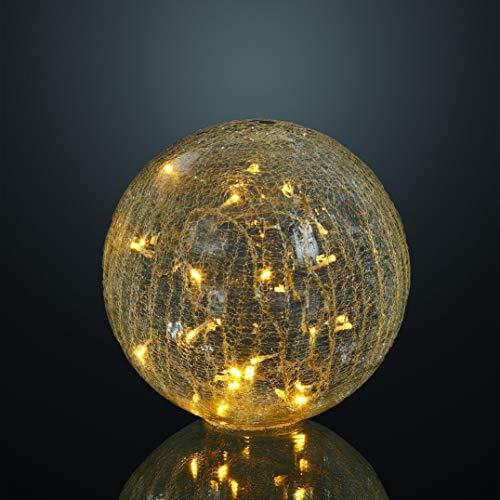 Hellum 568905 LED Deko-Glaskugel in Rissoptik transparent/Ø 25 cm / 24 LEDs warmweiß/innen & außen/Zuleitung 5 m transparent/inkl. Außen-Transformator