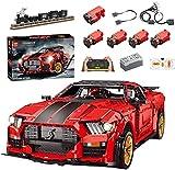Xshion Piezas de construcción de coche deportivo para Ford Mustang Shelby GT500, 3386 + piezas de montaje de Tile con control remoto rojo coche con motor, compatible con Lego Technik Auto